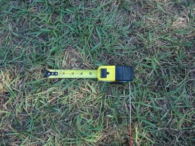 The case is 3 3/4 inches + 5 /34 inches = 9 1/2 inches -> the spacing between stakes