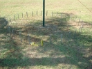 All 32 stakes in place.  The yellow stake marks the start of slice 1